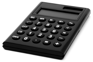 Photo of a simple black calculator isolated on a white background.