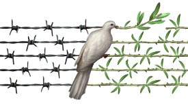 Dove of peace transforming barbed wire to olive branches