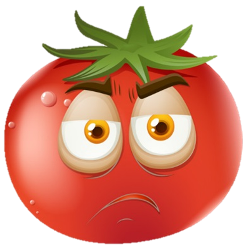 Cartoon tomato with sad face