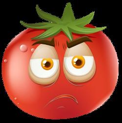 Cartoon tomato with sad face