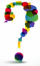 Cartoon question mark made up of speech bubbles