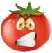 Cartoon tomato making a mean face