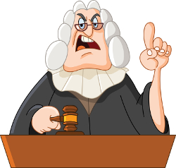 Cartoon of stern judge issuing a command