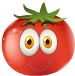 Cartoon tomato with a smile on its face