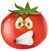 Cartoon tomato with a mean face