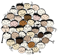 A crowd of smiling, diverse cartoon faces