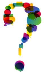 Question mark made up of multi-colored speech bubbles