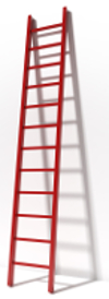 Red ladder near white wall isolated on white background