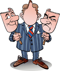 Cartoon of male manager holding two face masks: smiling and frowning
