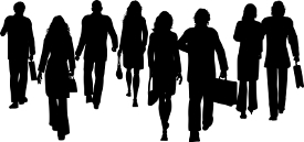 Silhouettes of business people walking away