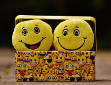 Lunch box with happy faces all over it and two happy face plush toys popping out