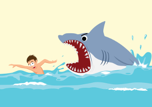 Cartoon of male swimmer escaping from a shark