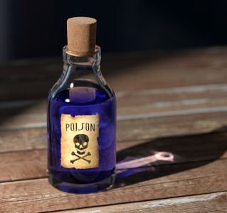 Photo of a corked blue bottle with a skull-&-crossbones label reading POISON