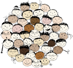 Cartoon of multiple smiling faces of all genders and ethnicities