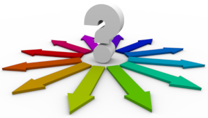 Question mark surrounded by a rainbow of arrows extending into possibilities