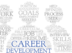 Human-shaped figures filled with word cloud representing career development