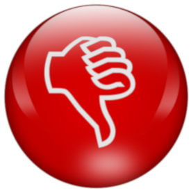 "Image of a red button with a ""thumbs down"" hand outline"