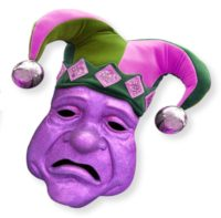 "Graphic image of a Mardi Gras ""tragedy"" mask in purple and green"