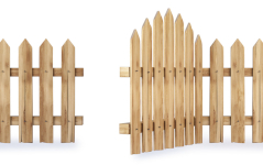 Illustration of brown picket fence with open gate