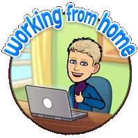 Bitmoji image of Grace working from home.
