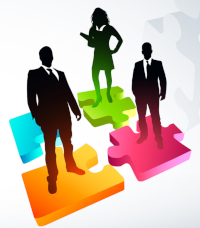 Graphic of business people standing on brightly-colored puzzle pieces
