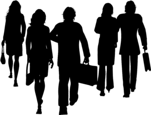 Silhouettes of male and female businesspeople walking away