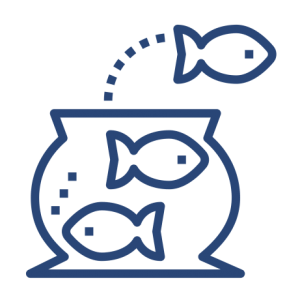 Icon / line drawing of a fishbowl with two fish plus one leaping out