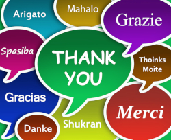 Multicolored speech bubbles with the words THANK YOU in multiple languages