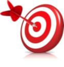 Red-and-white target with a bulls-eye dart