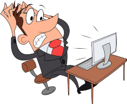 Cartoon of businessman reacting with fear at something on his computer screen