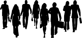 Silhouettes of businesspeople walking away