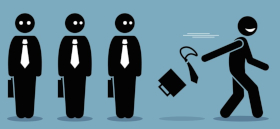 Cartoon of four businesspeople with one tossing aside their briefcase and walking out