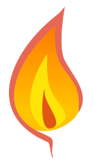 Cartoon image of a shades-of-orange flame